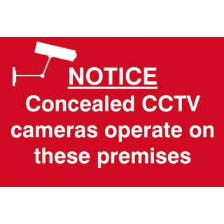Notice Concealed CCTV Cameras Operate On These Premises - PVC Sign 300 x 200mm