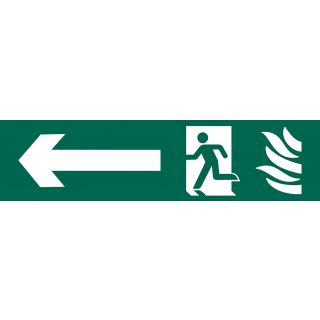 Running Man Arrow Left - PVC Sign 200 x 50mm