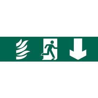 Running Man Arrow Down - PVC Sign 200 x 50mm