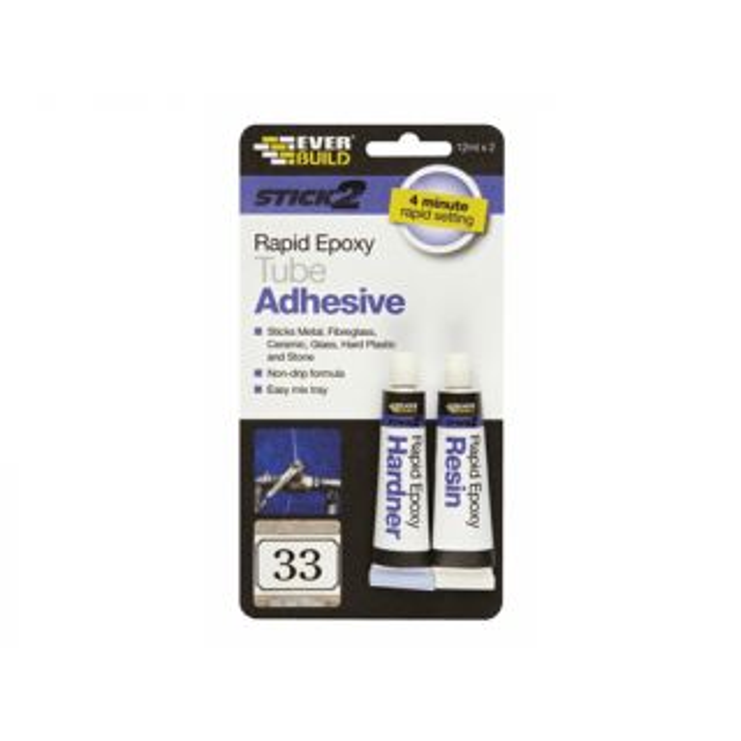 Everbuild Stick2 Rapid Epoxy Syringe Adhesive Clear 24ml