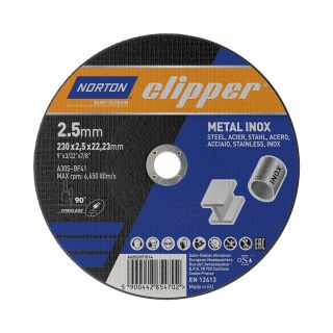 Norton Clipper Metal Inox Flat Cutting Disc 230 x 1.9 x 22.23mm