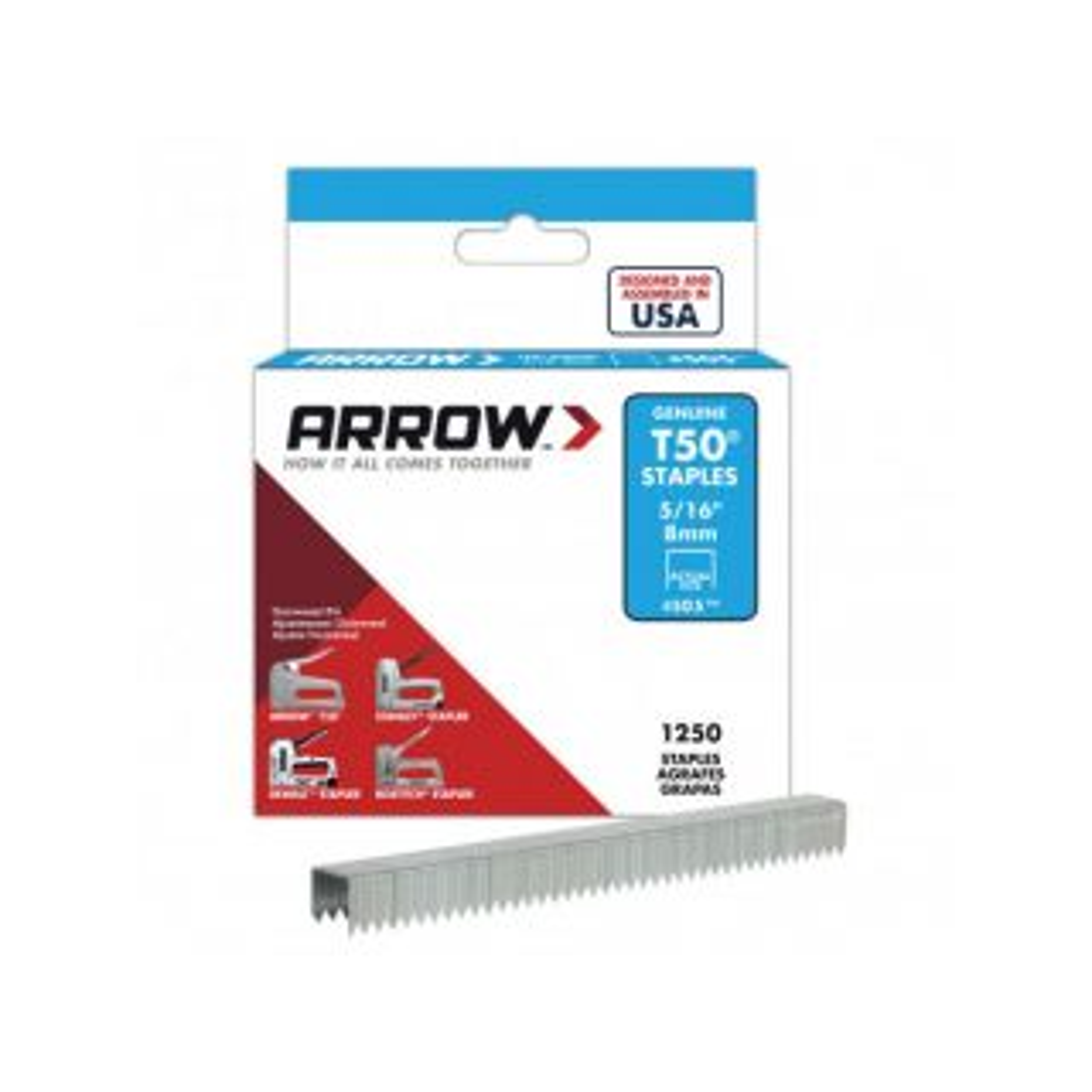 Arrow T50 Staples 8mm (5/16in) Box 1250