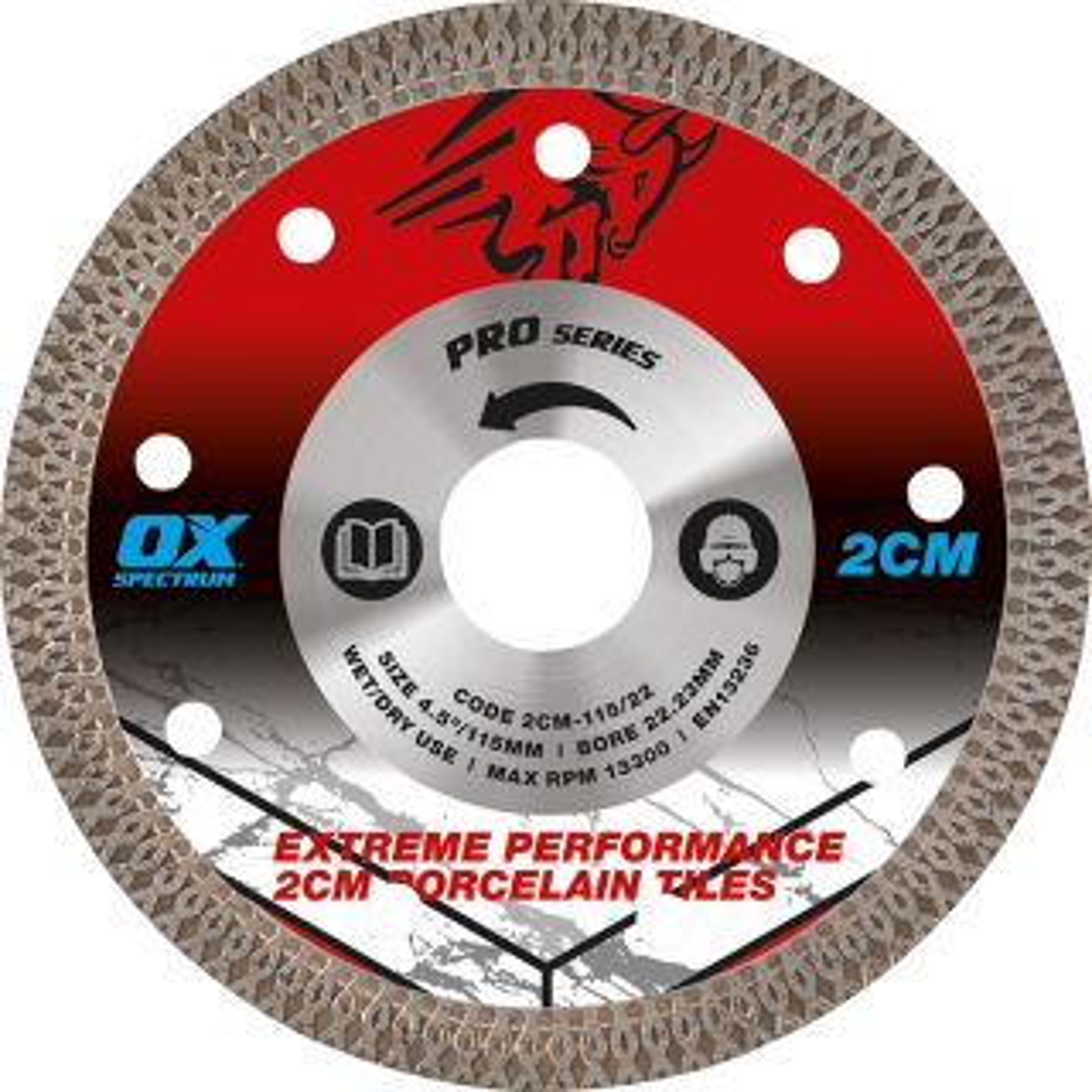 OX Pro 2CM Porcelain Cutting Blade 115/22.23mm